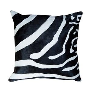 Čierny kožený vankúš s motívom zebry Pipsa Pennio, 45×45 cm