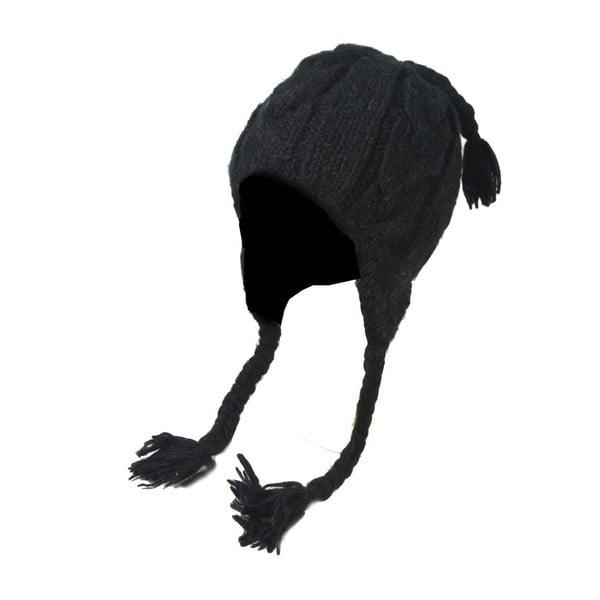 Vlnená čiapka s ušami Čierna prepletaná