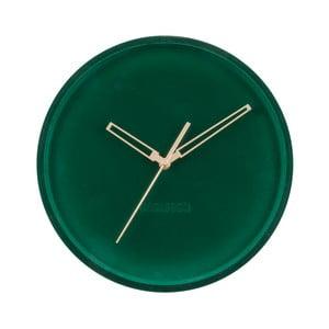 Tmavozlené zamatové nástenné hodiny Karlsson Lush, ø 30 cm