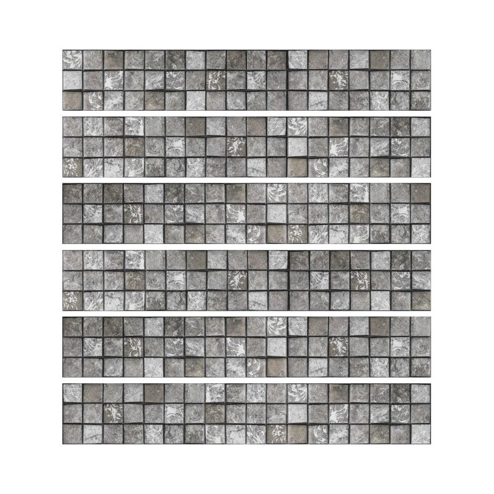 Sada 6 nástenných samolepiek Ambiance Stickers Friezes Tiles Stone, 5 × 30 cm