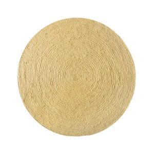 Koberec z juty Linen Rug Circle Yellow, ⌀ 140 cm