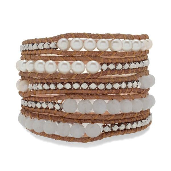 hnedý päťradový náramok z pravej kože s perlami a kamínky Lucie & Jade