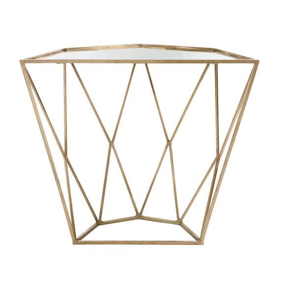 Zlatý konzolový stolík so zrkadlovou doskou J-Line Geometry