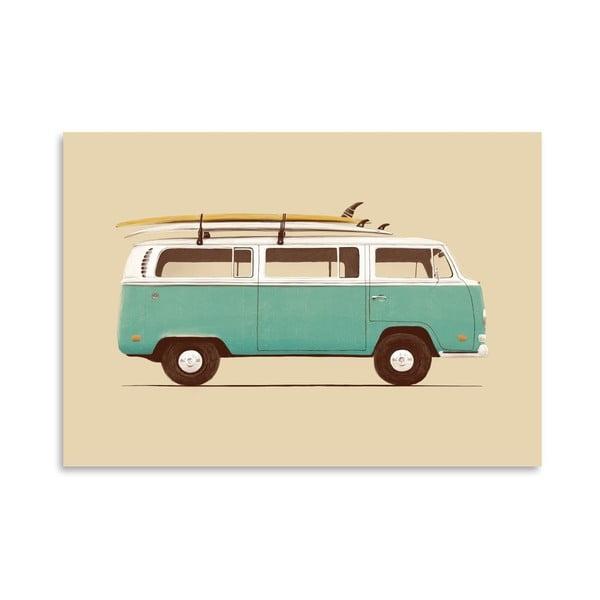 Plagát Blue Van od Florenta Bodart, 30x42 cm