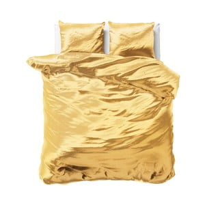 Žlté obliečky zo saténového mikroperkálu na dvojlôžko Sleeptime, 240 x 220 cm