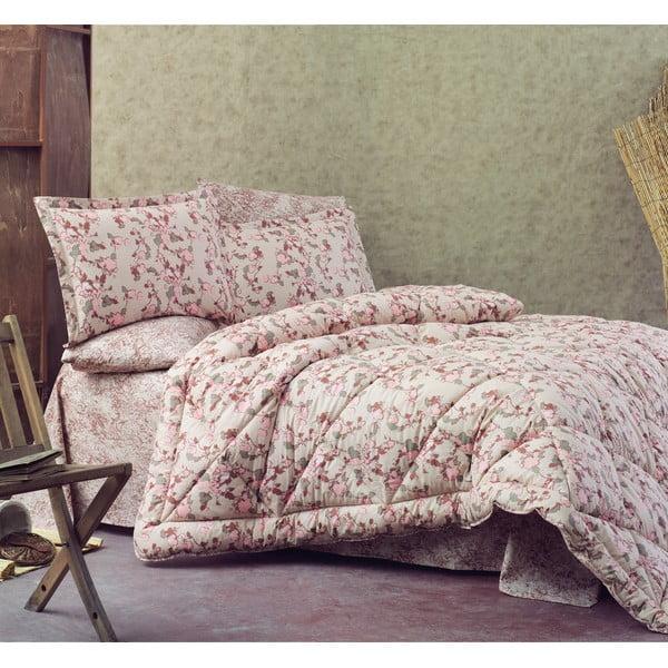 Prikrývka s plachtou a obliečkami na vankúše Ranforce Floral, 195x215 cm