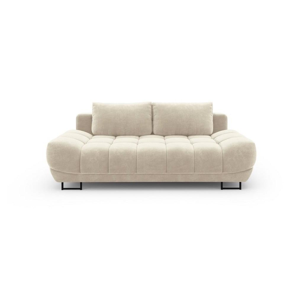 Béžová trojmiestna rozkladacia pohovka so zamatovým poťahom Windsor & Co Sofas Cirrus