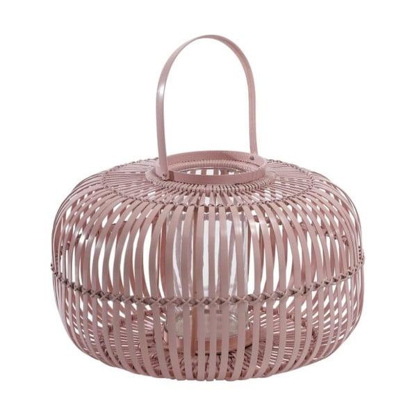 Ružový bambusový lampáš A Simple Mess Daun Pale Mauve, ⌀ 38 cm