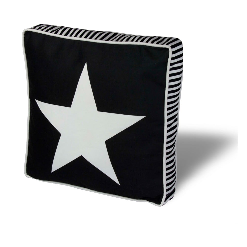 Vankúš na sedenie s výplňou Gravel Star B&W, 42 x 42 cm
