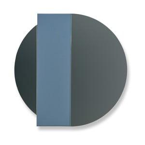 Modro-sivé nástenné zrkadlo z dubového dreva HARTÔ Charlotte, Ø60 cm