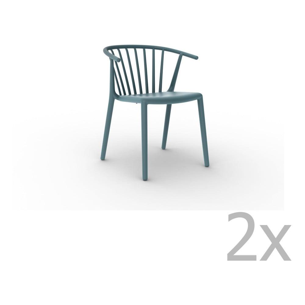Sada 2 modrých jedálenských stoličiek Resol Woody