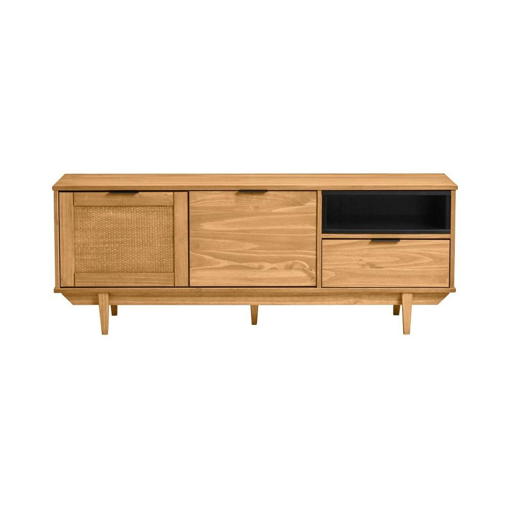 Hnedá TV komoda z borovicového dreva a s dvierkami z ratanu Marckeric Dakar, šírka 140,4 cm