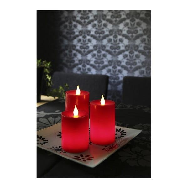 Sada 3 LED sviečok s diaľkovým ovládačom Best Season Red