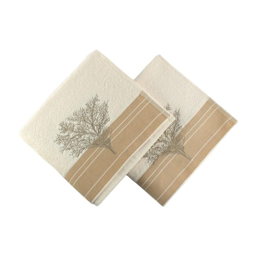 Sada 2 krémovobielych bavlnených uterákov Infinity, 50 × 90 cm