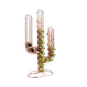 Stojan na 48 kávových kapsúl v medenej farbe Present Time Cactus