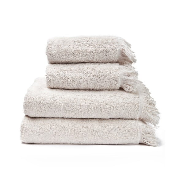 Sada 2 krémových uterákov a 2 osušiek zo 100% bavlny Bonami, 50 × 90 + 70 × 140 cm