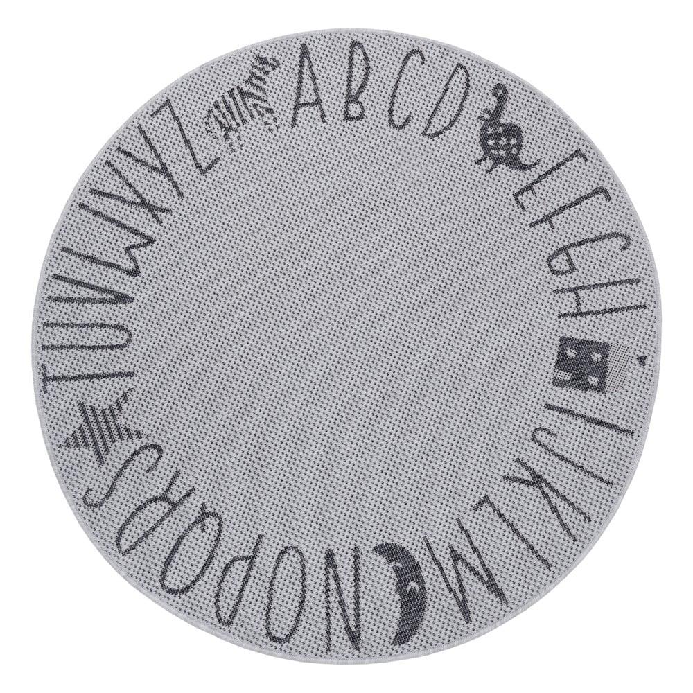 Sivý detský koberec Ragami Letters, ø 120 cm