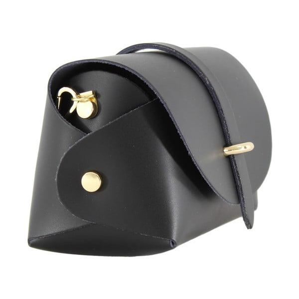 Čierna kožená listová kabelka Chicca Borse Loira