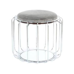Sivý odkladací stolík / puf s konštrukciou v striebornej farbe 360 Living Canny, Ø50cm