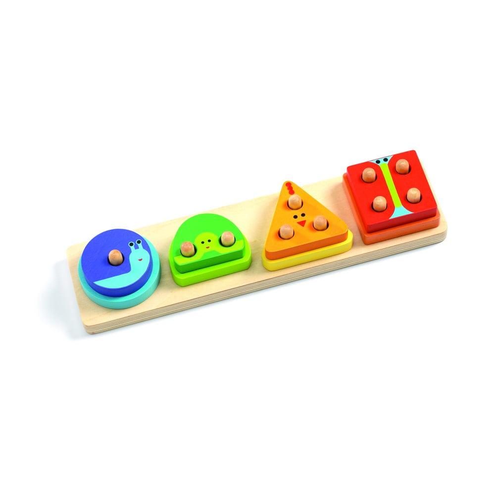 Detské drevené puzzle na podstavci Djeco Quatro