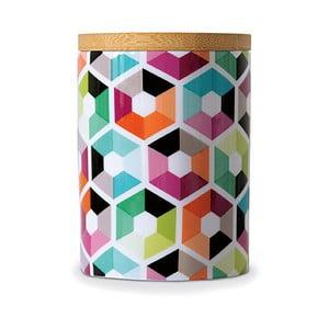 Porcelánová dóza s dreveným vrchnákom Remember Hexagon, 11×⌀8 cm