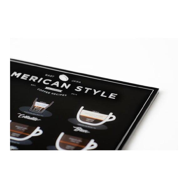 Čierny plagát Follygraph American Style Coffee, 40x50cm