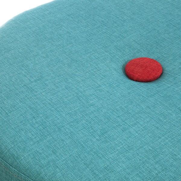 Sedacia taburetka Douda, tyrkysová s červeným gombíkom