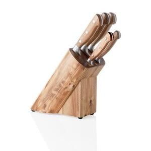 Blok na nože z akáciového dreva a sada 5 antikoro nožov Brandani Cut