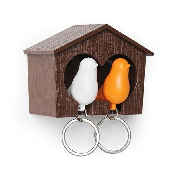 Hnedý vešiačik na kľúče s kľúčenkami Qualy kľúčenkami Duo Sparrow