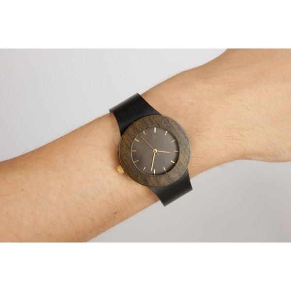 Drevené hodinky s hodinovými čiarkami Analog Watch Co. Leather & Blackwood