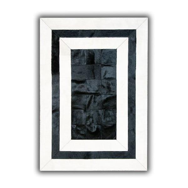 Koberec z pravej kože Black&White, 140x200 cm