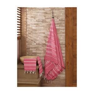 Set červeného uteráka s osuškou Hammam Sultan