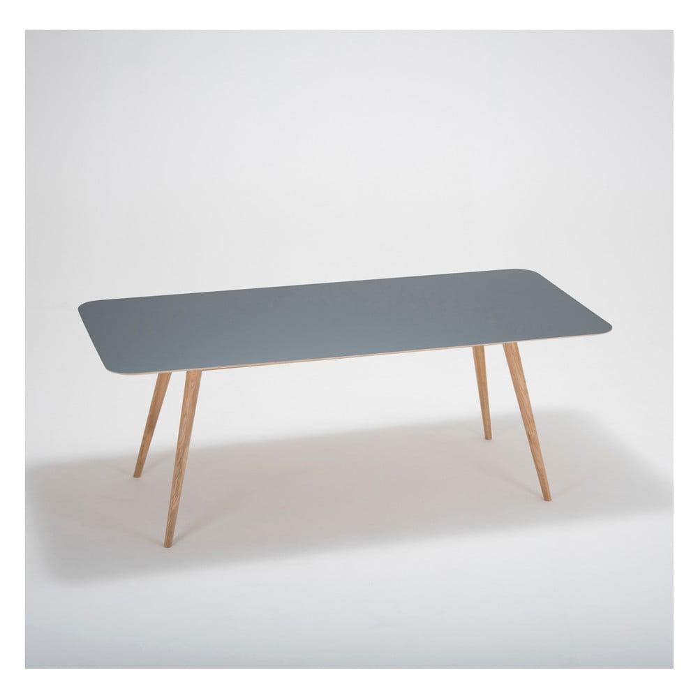 Jedálenský stôl z masívneho dubového dreva s čiernou doskou Gazzda Linn, 200 × 90 cm