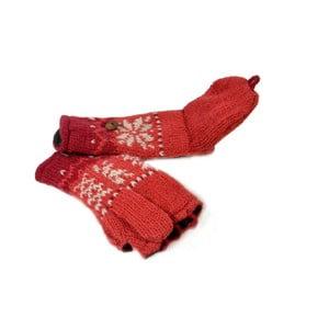 Vlnené palčiaky bez prstov Červená vločka