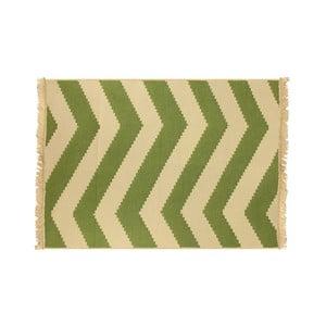 Koberec ZigZag Green Beige, 60x90 cm