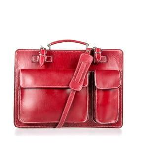 Červená kožená taška cez rameno Italia in Progress Maestro