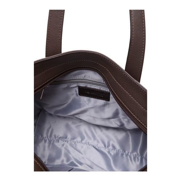 Kožená kabelka cez rameno Marta Ponti Pocket Deux, svetlohnedá/tmavohnedá