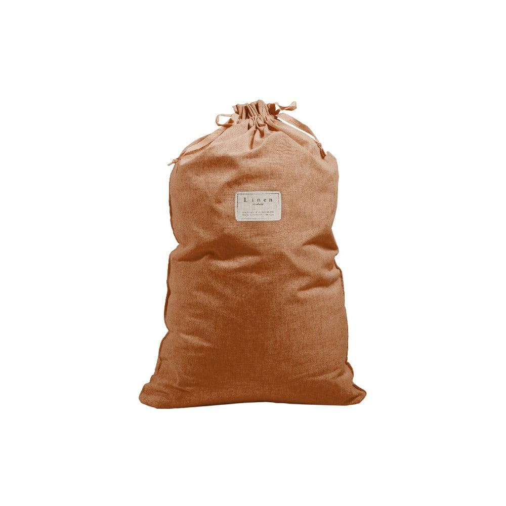 Látkový vak na prádlo Linen Bag Terracota, výška 75 cm