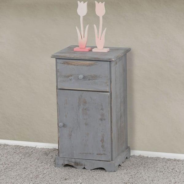 Nočný stolík Mendler Shabby, sivý