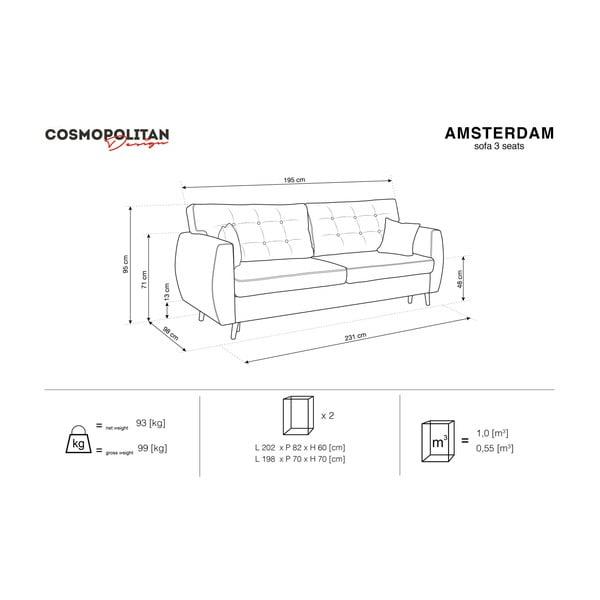 Sivá trojmiestna rozkladacia pohovka Cosmopolitan design Amsterdam, 231×98×95 cm