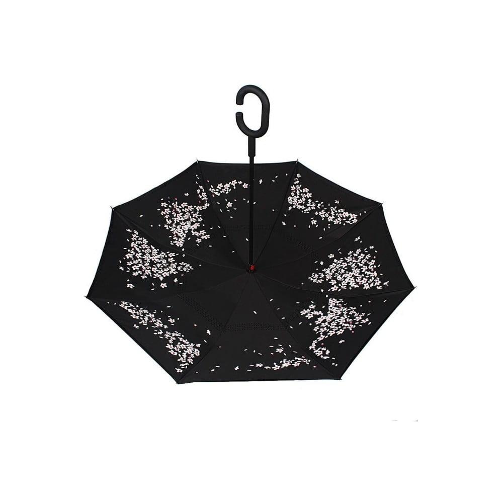 Čierny dáždnik s ružovo-bielymi detailmi Cherry Blossom, ⌀ 105 cm