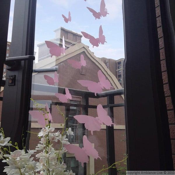 Sada 12 ružových 3D samolepiek Ambiance Butterflies