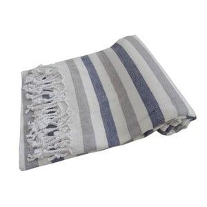 Modro-sivá ručne tkaná osuška z prémiovej bavlny Afrika, 100×180 cm
