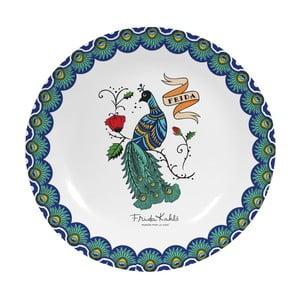 Nástenný dekoratívny keramický tanier Frida Kahlo Peacock