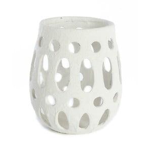 Biely keramický svietnik Simla Simple, výška 26 cm