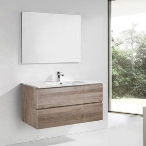Kúpeľňová skrinka s umývadlom a zrkadlom Capri, dekor dubu, 120 cm