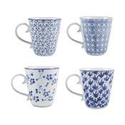 Sada 4 porcelánových hrnčekov Blue