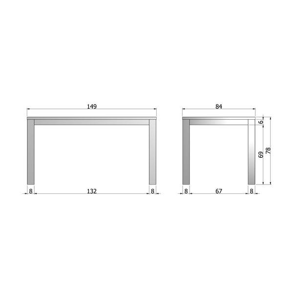 Jedálenský stôl Largo Black Night, 150x85cm