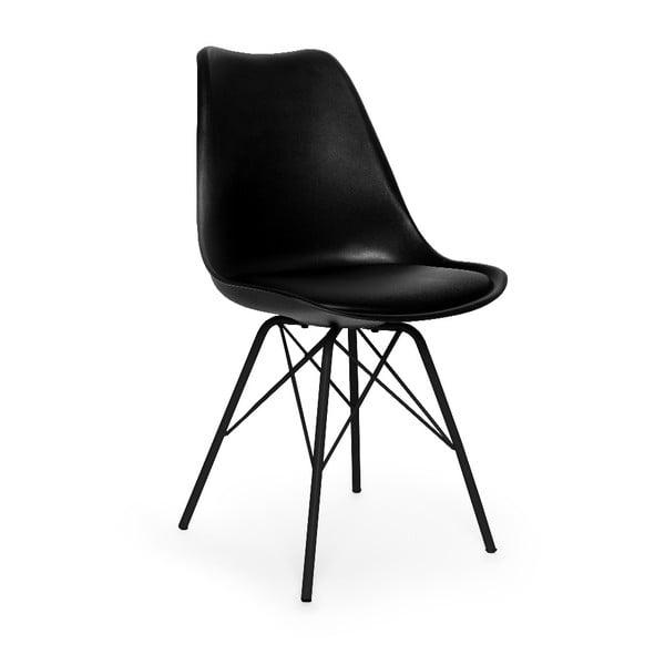 Čierna stolička s čiernym podnožím z kovu loomi.design Eco