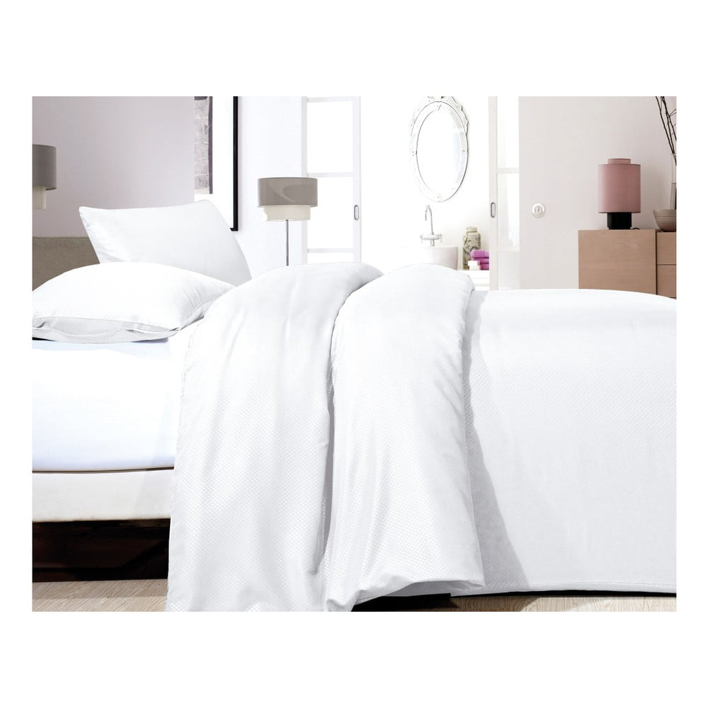 Biele obliečky z mikroperkálu na jednolôžko Sleeptime Satin, 140 × 200 cm